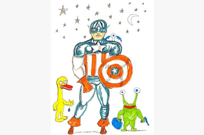 "Daniel Johnston ""captain america, the duck & the frog"""